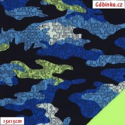 Zimní softshell - Maskáč modrozelený, 15x15 cm