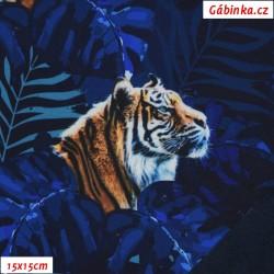 Zimní softshell - Tygr v listí na tmavě modré, 15x15 cm