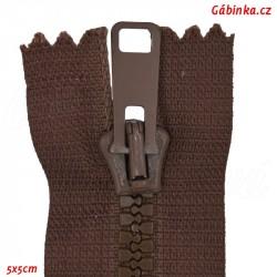 Kostěný zip dělitelný, délka 75 cm, 76 hnědý