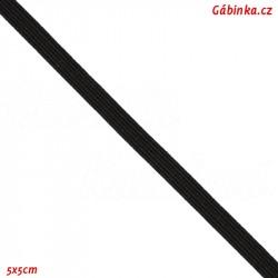 Pruženka, guma - hladká, plochá, černá, šíře 4 mm, 1 m
