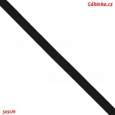 Pruženka, guma - hladká, plochá, černá, šíře 4 mm, 5x5 cm