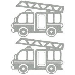 Reflexní nažehlovací potisk - Hasičské auto (2 ks)