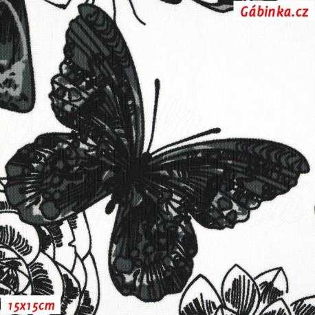 Kočárkovina MAT, Motýli černí na bílé, 15x15 cm