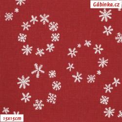 Plátno vánoční - Vločky v kolečkách na tmavě červené, šíře 140 cm, 10 cm