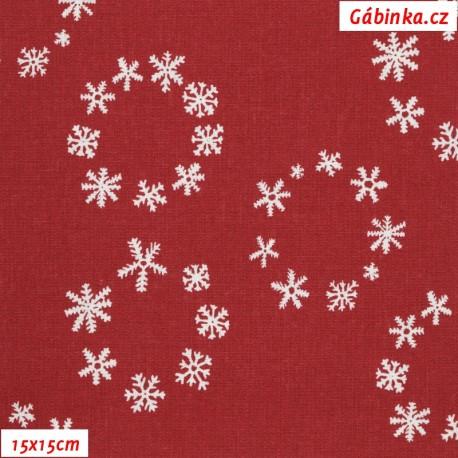 Plátno vánoční - Vločky v kolečkách na tmavě červené, 15x15 cm
