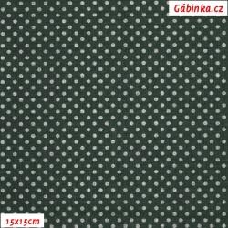 Plátno - Stříbrné MINI puntíky na zelené, 15x15 cm
