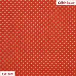 Plátno - Zlaté MINI puntíky na červené, 15x15 cm