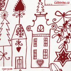 Plátno - Dárečky, domečky a ozdoby červené na přírodní bílé, 15x15 cm
