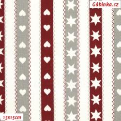 Plátno - Hvězdičky a srdíčka v proužcích na bílé, šíře 150 cm, 10 cm, ATEST 1