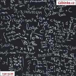 Kočárkovina Premium, Matematické zápisy na černé, 15x15 cm