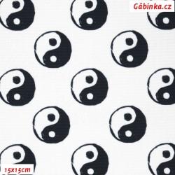 Waterproof Fabric Premium - Yin-Yang on White, width 160 cm, 10 cm, Certificate 1