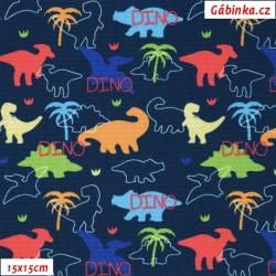 Kočárkovina Premium, Malí barevní dinosauři na modré, 15x15 cm