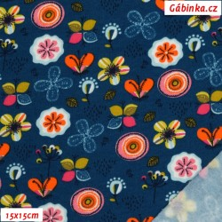 Teplákovina BIO POPPY jemně počesaná - Kytičky na modré, 15x15 cm