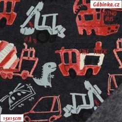 Teplákovina BIO POPPY jemně počesaná - Veselí pejsci na smetanové, šíře 150 cm, 10 cm, ATEST 1