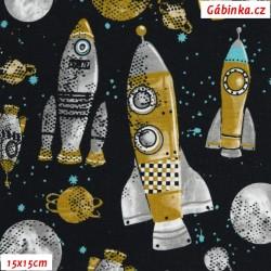 Teplákovina s EL POPPY - Rakety ve vesmíru na černošedé, 15x15 cm