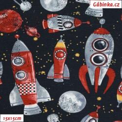 Teplákovina s EL POPPY - Rakety ve vesmíru na modré jeans, 15x15 cm