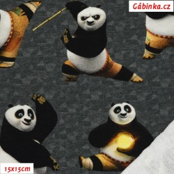 French Terry - Kung Fu Panda on Gray, DreamWorks License, 15x15 cm