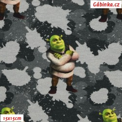 French Terry - Shrek on gray, DreamWorks License, 15x15 cm