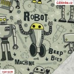 Teplákovina s EL POPPY - Roboti na bledě zelené, 15x15 cm