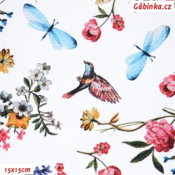 Waterproof Fabric Premium - Birds with Flowers on White, 15x15 cm
