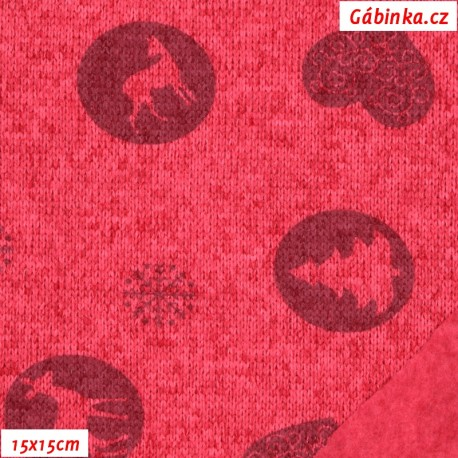 Svetrovina - Lesní zvířátka na růžovém melíru, 9007, 15x15 cm