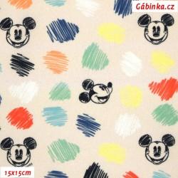 Plátno - Mickey-Mouse na meruňkové, LICENCE, digitální tisk, 15x15 cm