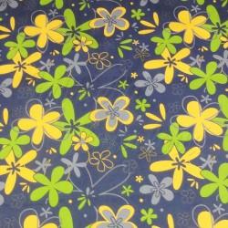 Kočárkovina LESK, Žluté a zelené květiny na šedé, šíře 160 cm, 10 cm