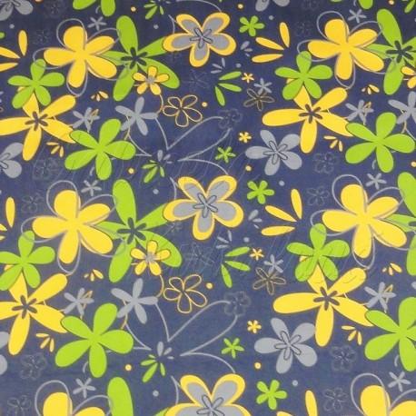 šusťák kočárkový, žluté a zelené květiny na šedé, detail