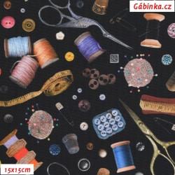 Kočárkovina Premium - Krejčovské potřeby na černé, 15x15 cm