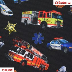 Waterproof Fabric Premium - Cars Firefighters, Police, Ambulance on Black, 15x15 cm