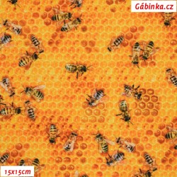 Kočárkovina Premium - Pilné včelky, 15x15 cm