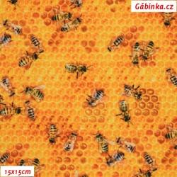 Waterproof Fabric Premium - Diligent Bees, 15x15 cm
