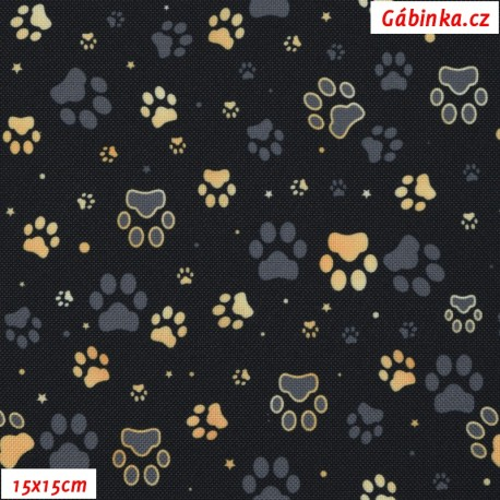 Waterproof Fabric Premium - Gold and Gray Paws on Black, 15x15 cm