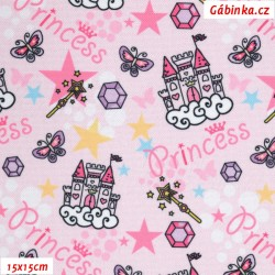 Waterproof Fabric Premium - Princess Castle on Pink, 15x15 cm