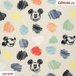 Plátno IT - Mickey-Mouse na světle žluté, 15x15 cm