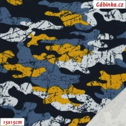 Teplákovina s EL POPPY - Maskáč modrý, hořčicový, 15x15 cm