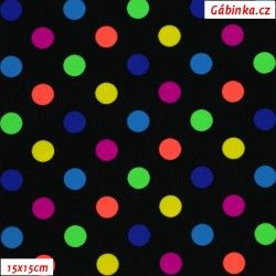 Lycra - Colourful Polka Dots on Black, 15x15 cm