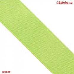 Stuha atlasová oboulící - Světle zelená, 5x5 cm
