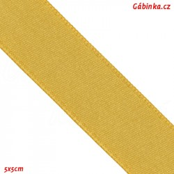 Stuha atlasová oboulící - Zlatá, šíře 20 mm, 5x5 cm