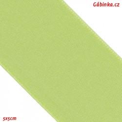 Stuha atlasová oboulící - Světle zelená, šíře 38 mm, 5x5 cm
