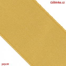 Double-sided satin ribbon - Gold, width 38 mm, 5x5 cm