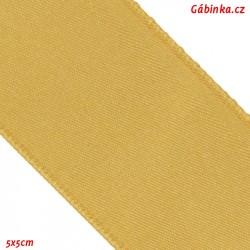 Stuha atlasová oboulící - Zlatá, šíře 38 mm, 5x5 cm