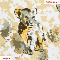 Kočárkovina MAT, Zvířátka Safari žluté na bílosmetanové, 15x15 cm