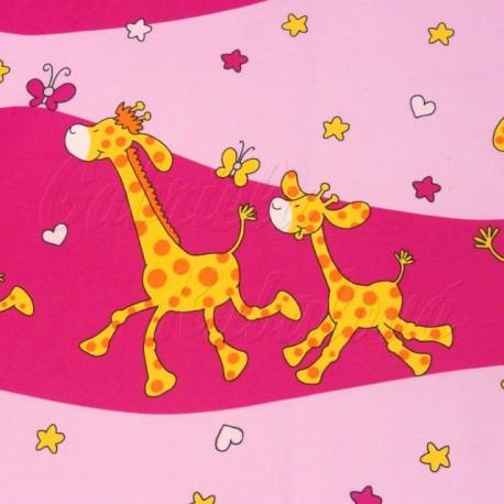 Dětská látka, Žirafky na růžové, detail