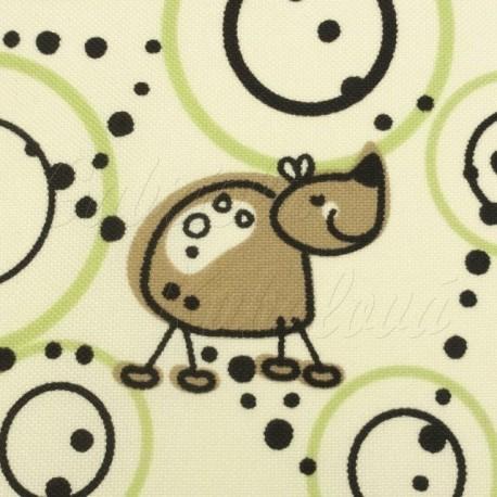 Šusťák, zvířátka s kruhy na světlé, detail