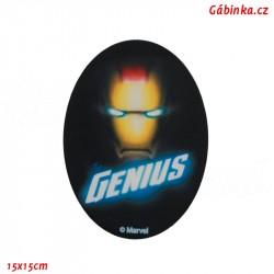 Záplata nažehlovací Avengers 2 - Iron Man the Genius, 15x15 cm