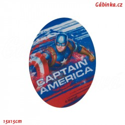 Záplata nažehlovací Avengers 8 - Kapitán Amerika, 15x15 cm