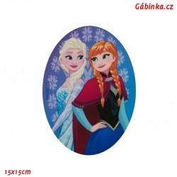 Záplata nažehlovací Ledové království 1 - Elsa a Anna, 15x15 cm
