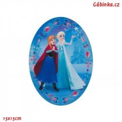 Záplata nažehlovací Ledové království 7 - Elsa a Anna, 15x15 cm