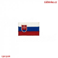 Iron-On Patch - Flag of Slovakia, 15x15 cm